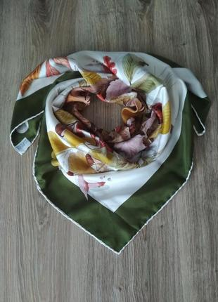 Mantero, 100% шелк шикарный платок каре из саржевого шелка, осенний мотив