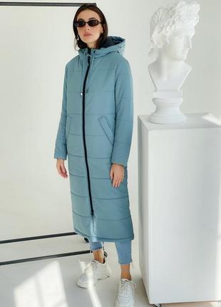 Зимний тёплый пуховик аква куртка лёгкое пальто