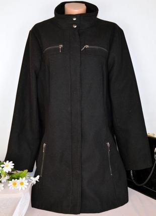 Черное демисезонное пальто с карманами george вьетнам большой размер