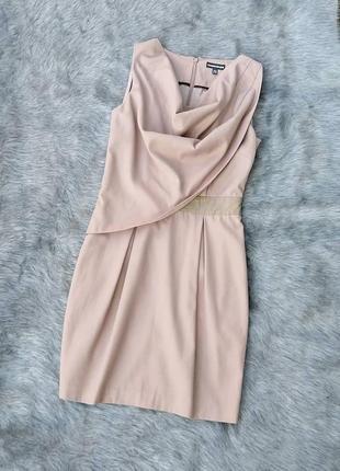 Платье чехол из костюмной ткани с драпировкой warehouse