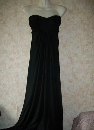 Платье в пол чёрное трикотажное без бретелей