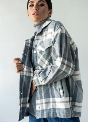 Теплая рубашка из пальтовой ткани в клетку - арт. 5680