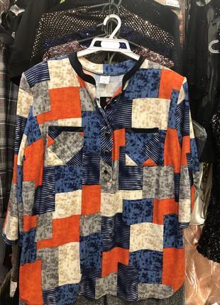 Женская блузка, рубашка в сине- оранжевый квадрат