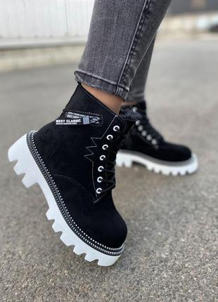 Ботинки на шнуровке на зубастой платформе