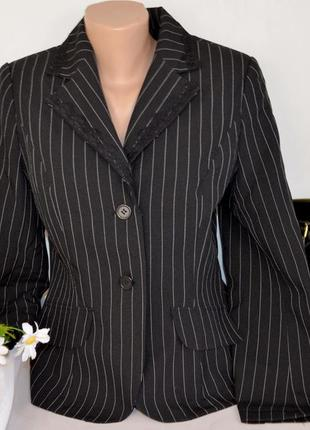 Брендовый черный пиджак жакет блейзер с кружевом в полоску этикетка
