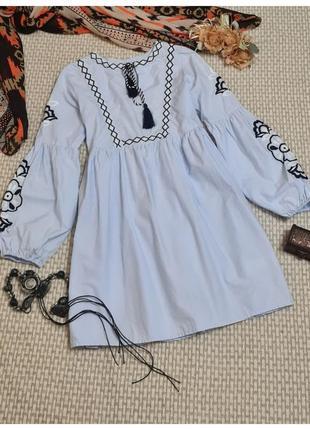 Платье с вышивкой/платье-вышиванка primark/оверсайз
