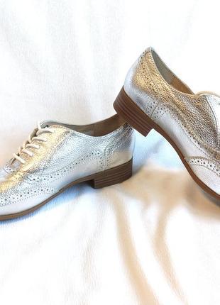 Туфли женские оксфорды серебристые m&s marks & spencer