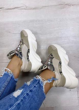 Кроссовки на платформе на массивной подошве кожа замш
