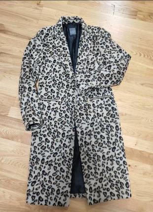 Пальтг, тренч, демисезонное пальто, леопардовый принт, приталенное пальто