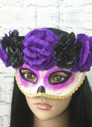 Карнавальная маска с венком хэллоуин день мертвых