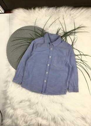 Синяя рубашка на 2-3 года