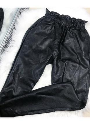 Кожаные штаны слоучи на высокой талии посадке boohoo