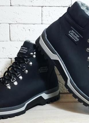 Мужские кожаные зимние ботинки columbia model - 220 black crazy