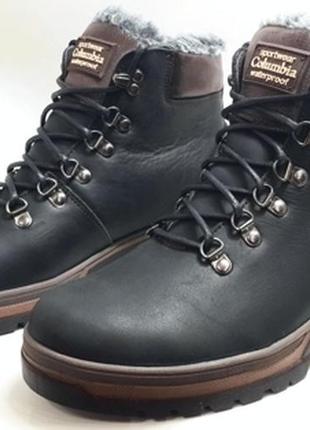 Мужские кожаные зимние ботинки columbia model - 220 mustang
