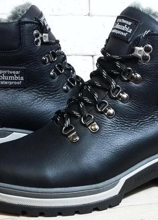 Мужские кожаные зимние ботинки columbia model - 220 black