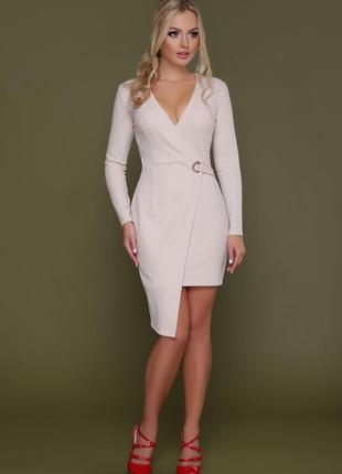 Шикарное нарядное оригинальное короткое стильное деловое платье длинный рукав