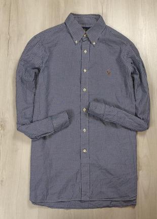 Z7 приталенная рубашка ralph lauren ральф лоурен синяя в клетку клетчатая