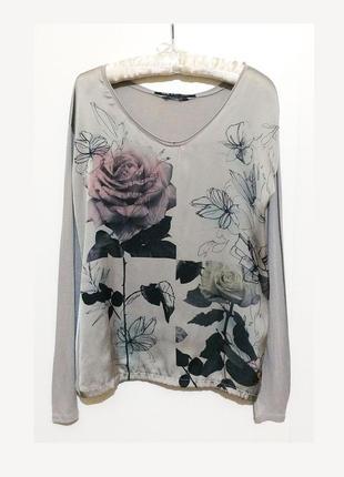 Женская вискозая блуза блузка guess пог 90 см длинныq рукав принт