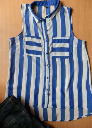 Шифоновая блуза в полоску удлиненная спинка без рукавов
