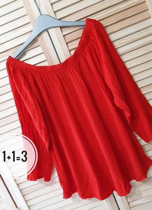 Select базовая натуральная блузка m-l рукав открытые плечи свободная блуза