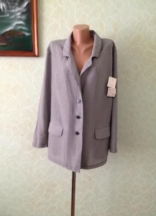 Тоненький пиджак жакет в клеточку вискоза полиэстер большой размер все по 25