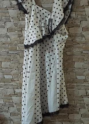 Платье , горошек, boohoo, ассиметрия, uk 10, eu 38, великобритания