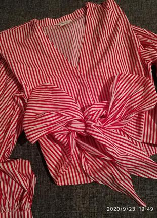 Рубашка бант полоска