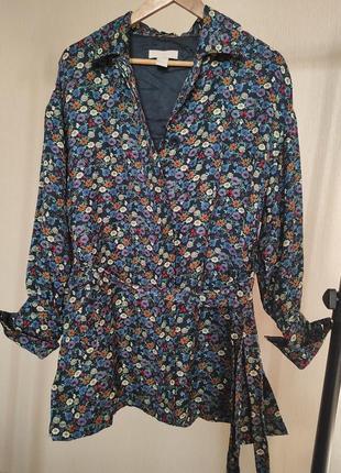 Стильный, оригинальный  с ярким цветочным принтом жакет-блуза, размер m-l. h&m