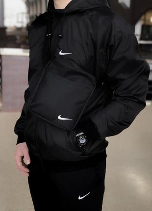 Комплект nike windrun_black +штаны president черные nike + барсетка в подарок