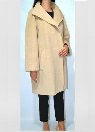 Легендарное дизайнерское бежевое шерстяное пальто 101801 от max mara