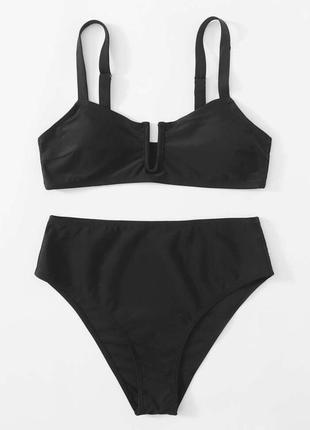 Чорний купальник, сексуальний купальник з високою талією, стильный, раздельный черный.