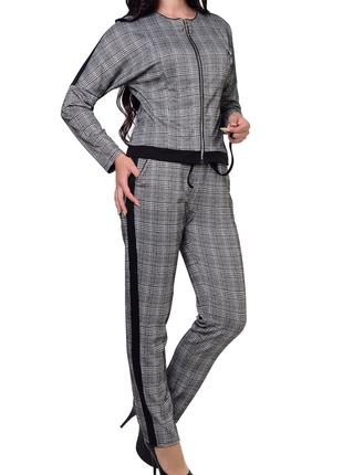 Стильный городской прогулочный костюм бомбер и брюки