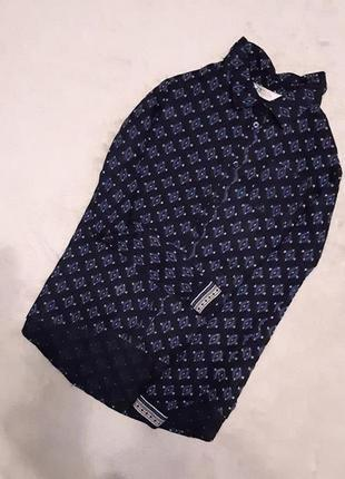 Рубашка принт тёмно синяя длинный рукав вискоза 4-6 h&m