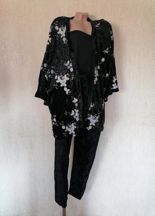 Бархатный кардиган накидка кимоно