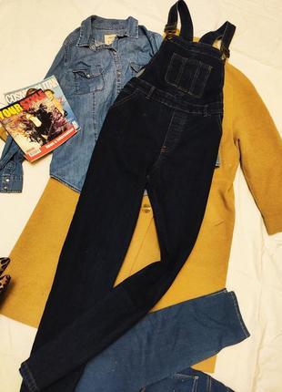 Комбинезон джинсовый синий брючный оверсайз tu