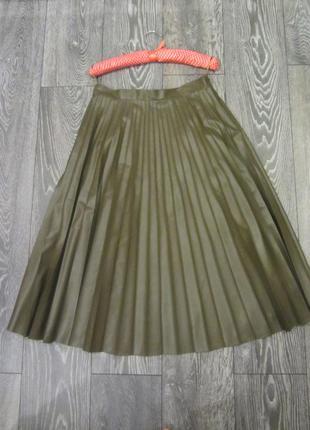 Крутая,стильная плиссированная кожаная юбка миди ,на талии(высокая посадка)