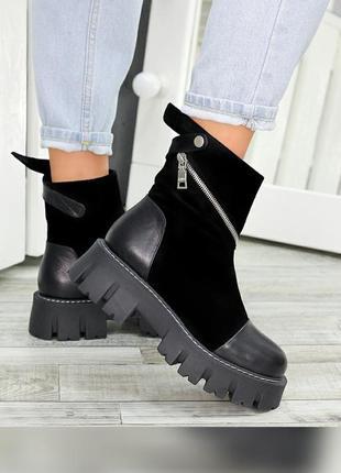 Стильные ботинки из натуральной кожи и замши чёрного цвета