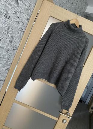 Как новый! серый актуальный базовый свитер оверсайз с шерстью