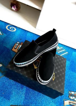 Шикарные стильные мокасины, туфли, слипоны натуральный замш размер 39 (25 см)
