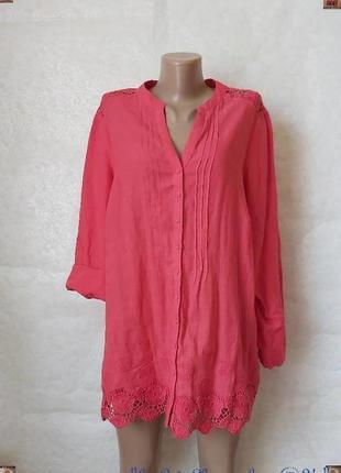 Фирменная per una блуза на 65 % лен и 35 % хлопок с кружевными вставками, размер 4 хл