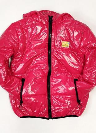 Детская демисезонная лаковая куртка для девочек 116-140р 5-10 лет малиновая 4205