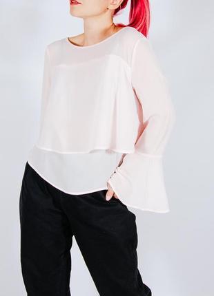 Розовая блуза, блузка с расклешенными рукавами, жіноча блуза