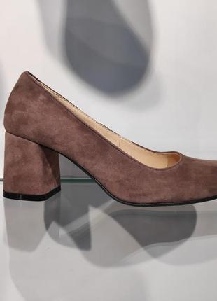 Туфли женские натуральный замш, удобный каблук, украина