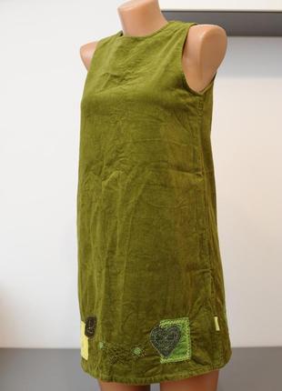 Вельветовый хлопковый сарафан с вышивкой.
