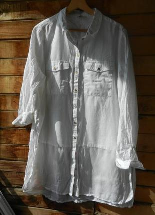 Длинная натуральная рубашка большой размер