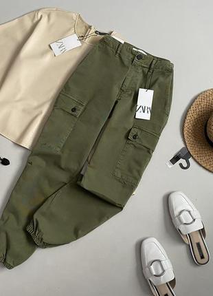 Новые трендовые брюки карго zara