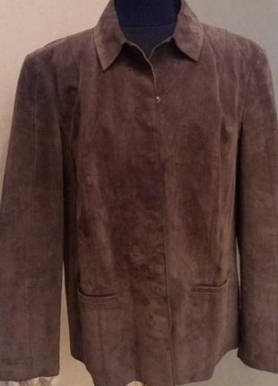 Стильная большой размер куртка пиджак замш коричневый debenhams раз.18
