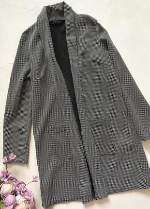 Удлинённый пиджак кардиган с карманами в клетку лапку s m