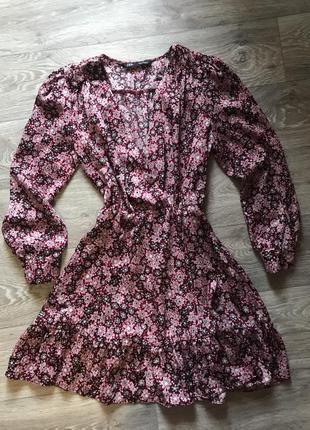 Платье шелковое в цветочек zara