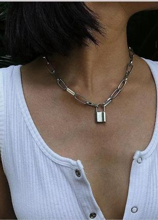 Ожерелье колье чокер цепочка серебристая с подвеской замок